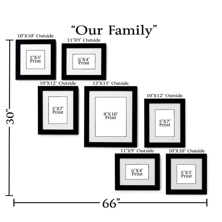 Our Family 7 Frame Family Portrait Gallery With 1 5 Designer Mat In 2020 Gallery Wall Layout Picture Gallery Wall Gallery Wall Frames