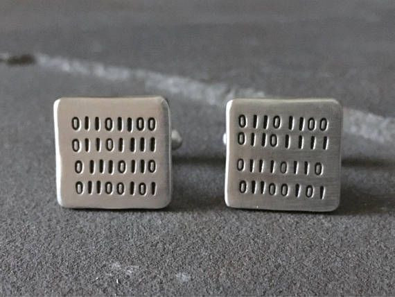 Sterling Silver LOVE Binary Code Cufflinks Gifts for Techies