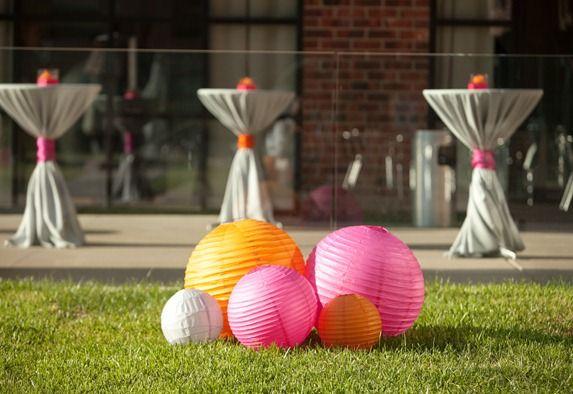 lanterns on the lawn- pink orange gray wedding
