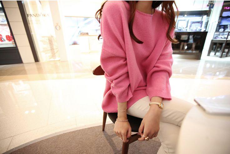 ニット・カーディガン - 純色ニット編み物ゆったりドルマンスリープロング丈分厚いセーター