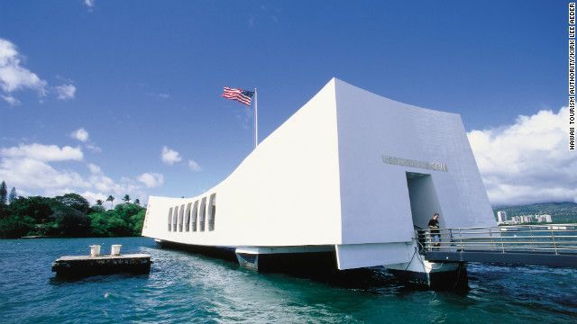 Oahu--The USS Arizona Memorial in Pearl Harbor pays tribute to the 1,177 crewmen who lost their lives in the December 7, 1941 attack.