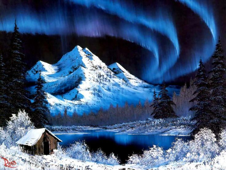 bob ross paintings for sale | Painting by Bob Ross - Northern lights, Bob Ross, Cabin, Mountain ...