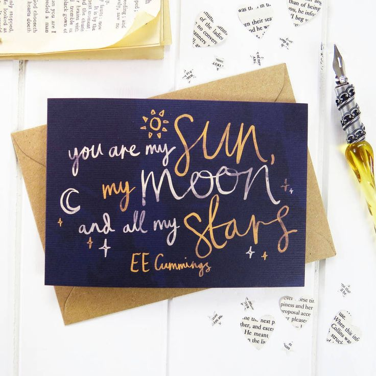 Beautiful sun, moon and stars Valentines card inspired by a romantic literary quote from EE Cummings.Designed exclusively for Literary Emporium by illustrator Jack Slater, this Valentine's day card is decorated with a calligraphy quote and sun, moon and stars illustrations. 'You are my sun, my moon and all my stars' EE Cummings Make this card extra special by adding a beautiful wooden keying, engraved with this romantic sentiment. This wooden keyring is thoughtful keepsake gift for your ...