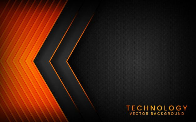 Abstract 3d Black Technology Background Overlap Layers On Dark Space With Orange Light Effect Decoration In 2020 Technology Background Abstract Light Orange