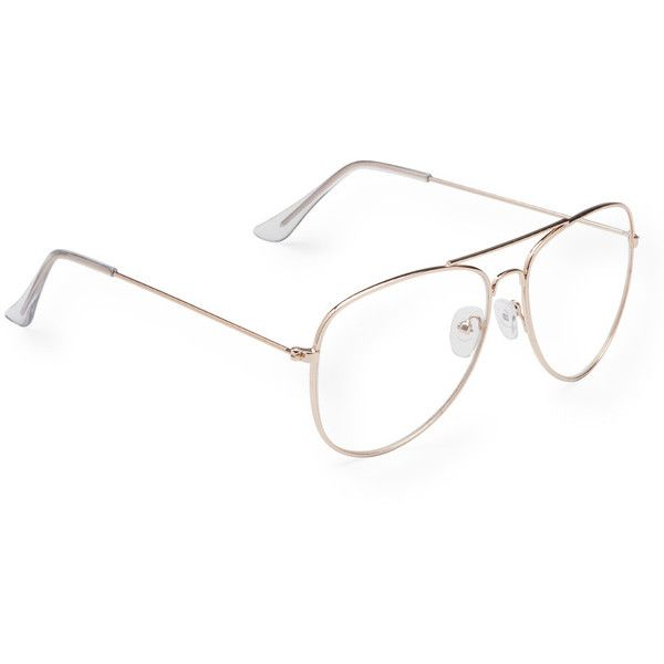 Aeropostale Clear Aviator Reader Glasses ($7.80) ❤ liked on Polyvore featuring accessories, eyewear, eyeglasses, gold, cocktail glasses, clear aviators, aviator eyeglasses, metal frame eyeglasses and metal frame glasses