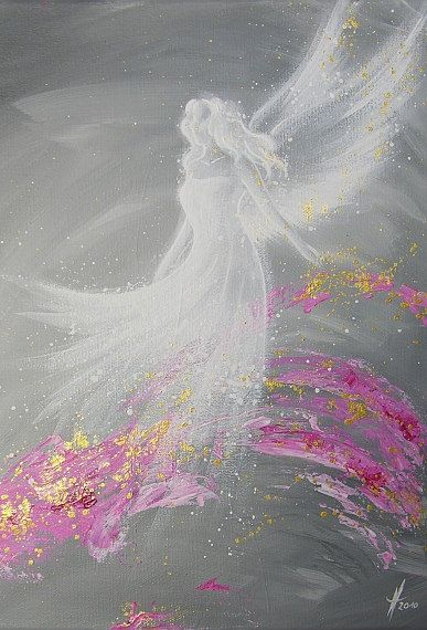"""Foto de arte de angel limitada """"cumplimiento"""", Ángel moderno pintura, obras de arte, ideal también para marco de foto, regalo, espiritual, mágico, místico"""