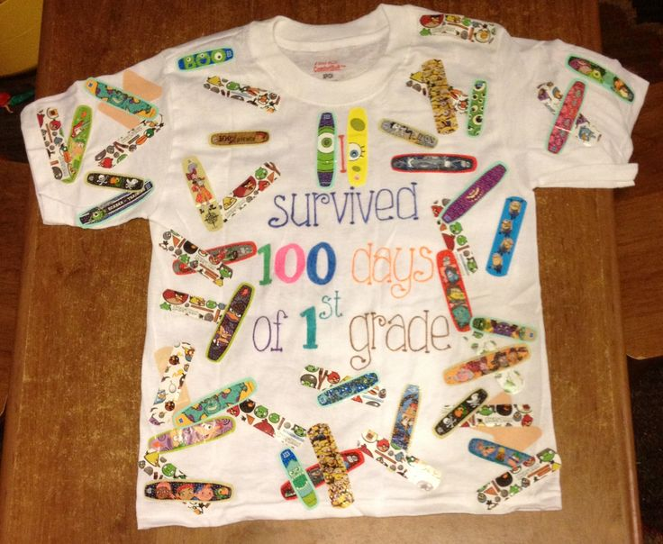 This is the cutest 100th Day Of School T-Shirt idea ever! Use band-aids to show that your child survived the first 100 days of school!