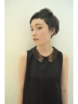 black top with lace peter pan collar and short hair cut
