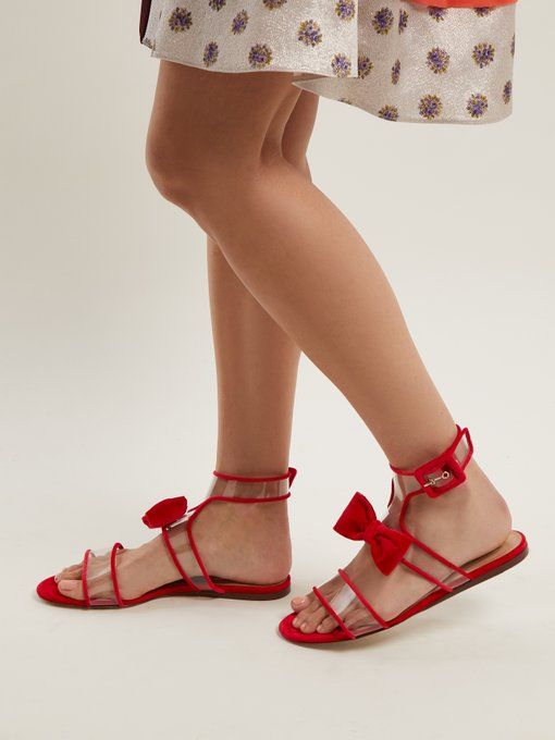 3fa1bd02977b Valentino applies its feminine flair to these hot-pink Dollybow sandals.  They re crafted in Italy from velvet-trimmed clear PVC straps and come with  a ...