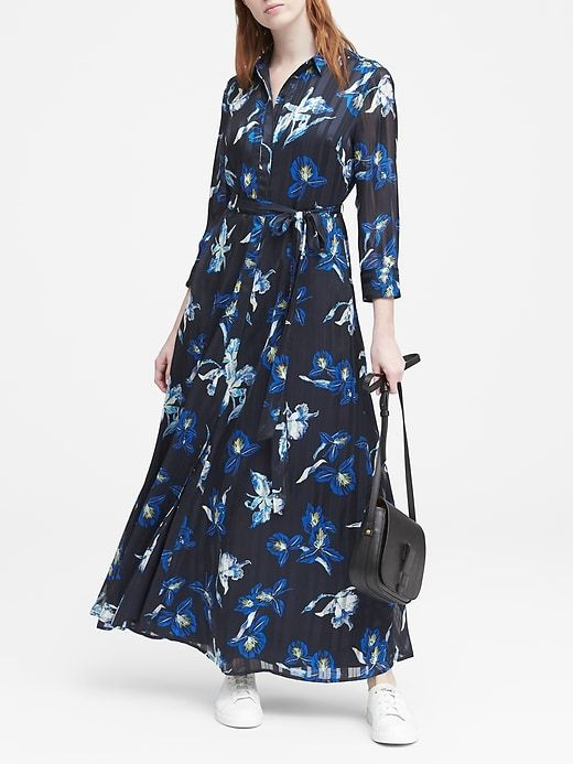 84d9630f6fb Banana Republic Womens Petite Anneke Floral Maxi Shirt Dress Navy Floral