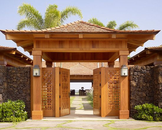 wood and stone fence designs | ... , Excellent Solid Outdoor Wood Gates Designs with Tropical Entry