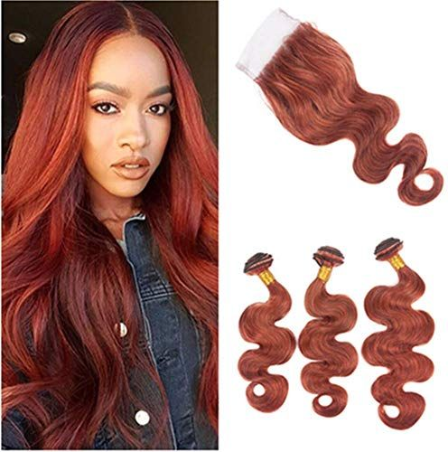 New Brazilian Dark Auburn Body Wave Human Hair 3 Bundles Closure #33 Reddish Brown Hair Bundles Closure Wavy Copper Red Human Hair Wefts 4×4 Lace Closure (12 12 12 10) online