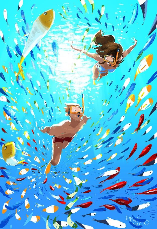 'Cause I'm Happy! #pascalcampion The Happy song is playing on the radio.. kind of makes me want to move and groove..and draw fishes and Hawaii!