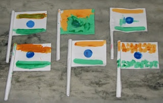 Olympic Flag Craft. These flags were for Indian Independence Day, but you can use the same idea for Olympic flags.  They don't have to be exact either - i.e., use the country's colors for handprint flags.