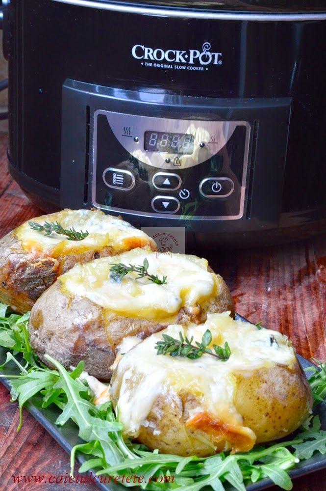 cartofi umpluti cu branzeturi, la slow cooker