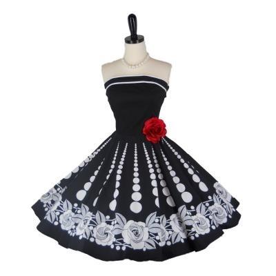 Retro 1950s Style Prom Party Dress Black Rose Strapless Circle Skirt