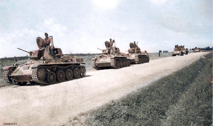 M38 Toldi tank column.