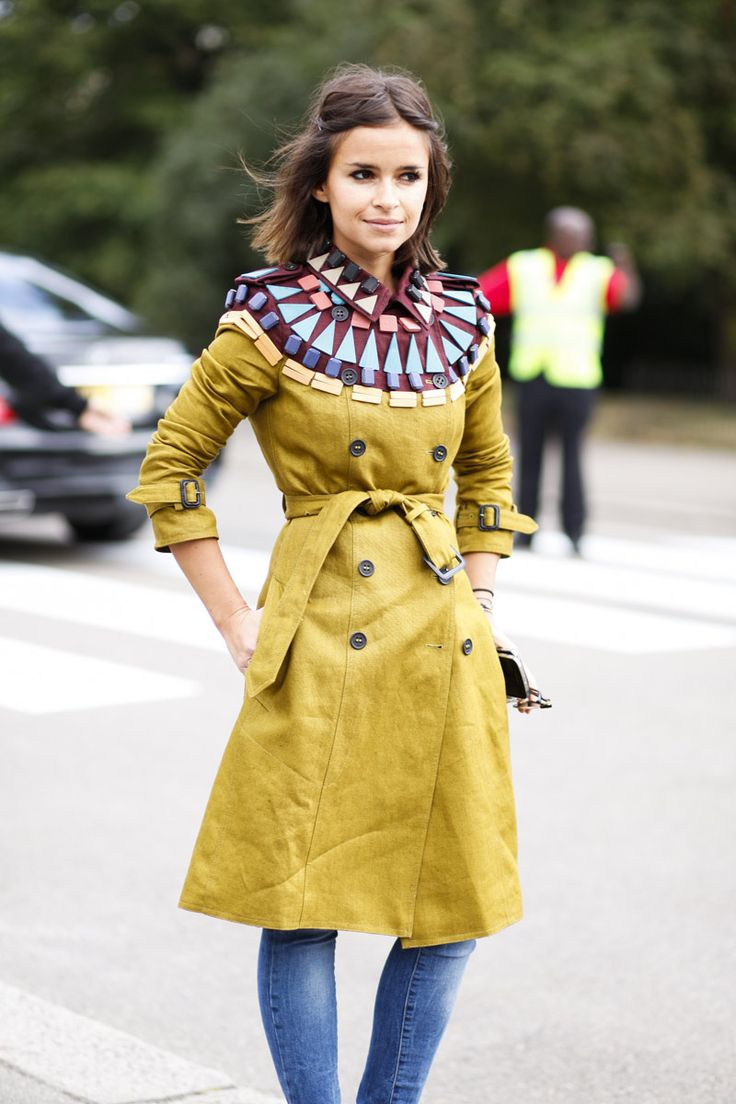 Street Style London Fashion Week - Love the trench coat with the embellished collar. My girl crush Miroslava Duma!