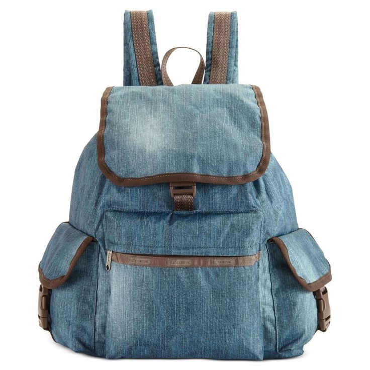 lesportsac voyager backpack book bag denim blue nylon w. Black Bedroom Furniture Sets. Home Design Ideas