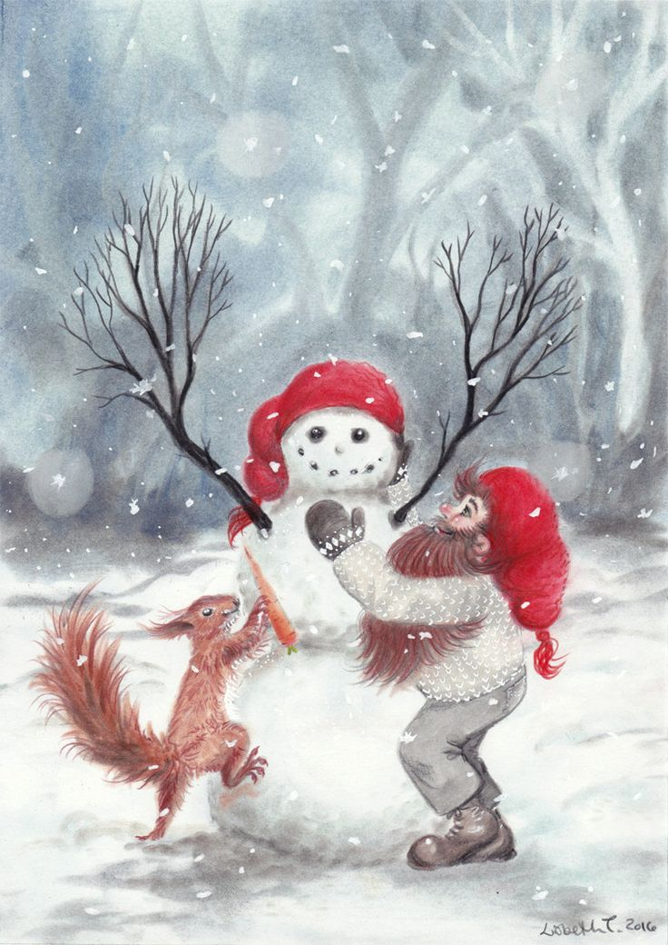 Gnome and squirrel building a snowman. Christmas, nordic, scandinavian, nisse, tomte, fox, jul, xmas, holiday, winter, holidays, squirrel by ArtLisbethThygesen on Etsy