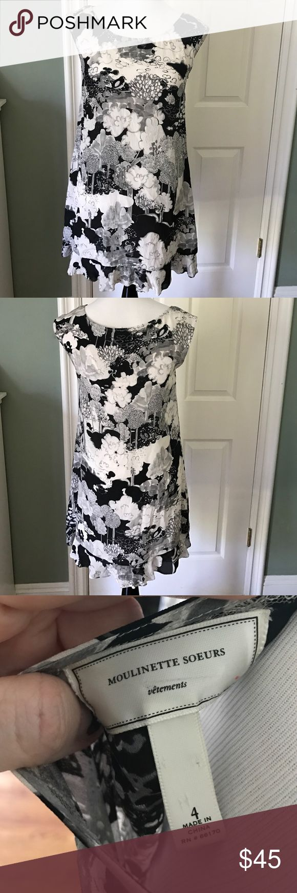 Moulinette Soeurs Black White Print Silk Dress 4 Sweet sleeveless black and white floral and bird print with bottom ruffle. Dress is 100% silk, lining is acetate. Anthropologie brand.  Dress is size 4, mannequin is a size 6. Bundle two items to save 20% Anthropologie Dresses