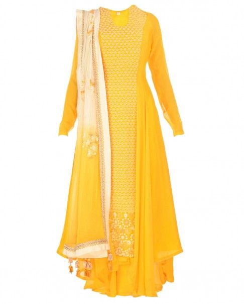 casual Madsam Tinzin Poppy Yellow Anarkali Suit with White Bead Embellishments