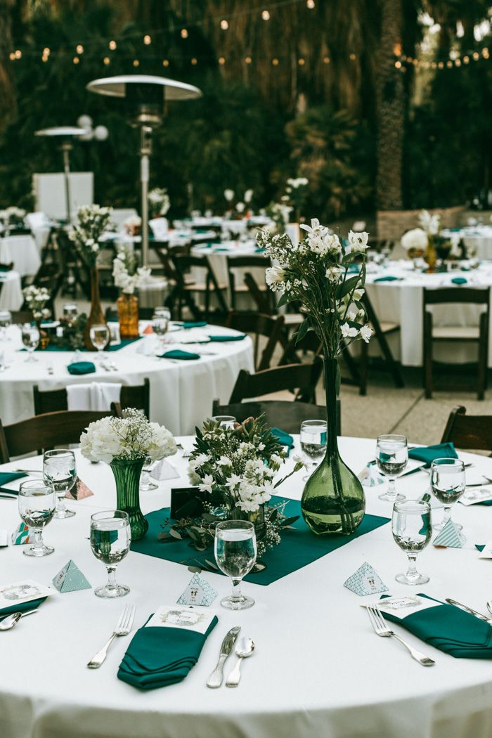 Colorful And Crafty California Wedding At The Living Desert Junebug Weddings Wedding Reception Table Decorations Green Wedding Decorations Wedding Reception Tables
