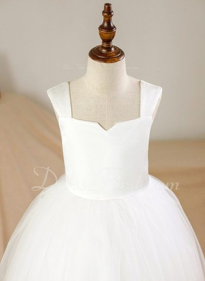 075275b8a Ball Gown Ankle-length Flower Girl Dress - Satin/Tulle Sleeveless Square  Neckline (010094107) - DressFirst