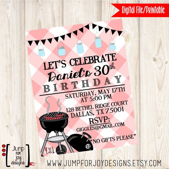 Men's 30th Birthday Cookout Invitation by JumpForJoyDesigns, $20.00