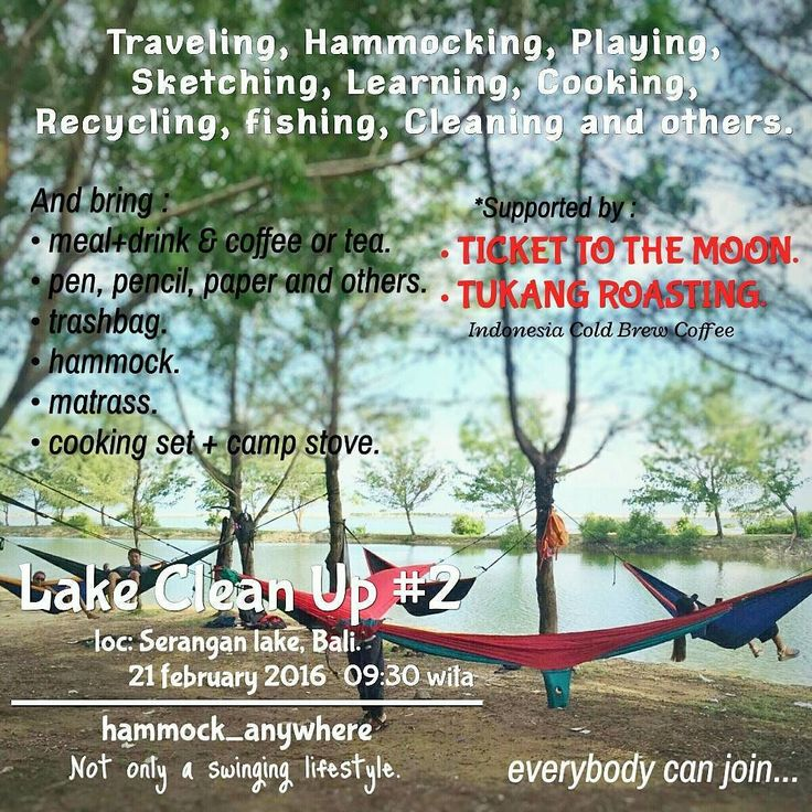 . Let's join together in activities Lake Clean Up Pals. In tomorrow morning on Sunday February 21 2016. At 9:30 am until 06:00 pm.  Together with: @tickettothemoonhammock @tukangroasting @melali.gen @magmaadventure @igersbali @bpiregionalbali @swbali.  Thanks support:  Ticket To The Moon.  Tukang Roasting Indonesia Cold Brew Coffee.  For those who have books secondhand could be brought and collected to be donated later.  ____________________________________  Ayo kawan-kawan yang tinggal di…