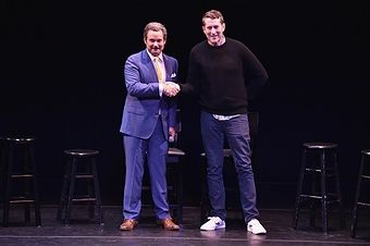 Scott Aukerman and Paul F. Tompkins perform on stage at the Comedy Bang! Bang! at BAM presented by Vulture Festival on May 20, 2017 in New York City.