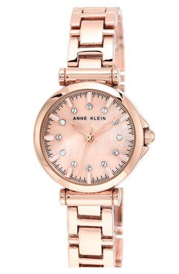 Anne Klein Crystal Index Round Bracelet Watch, 28mm available at #Nordstrom