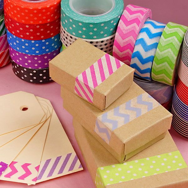 Pattern Washi Tape - Too Cute to Handle! Use for Crafting, Organizing, and Embellishing! Chevron, Polka Dot, Striped, and Printed Washi Tapes. Starts at $1.34 a roll. #washitape
