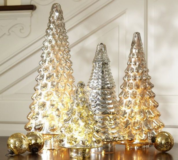 Home for the Holidays Giveaway! Win One of These Trees! (http://blog.hgtv.com/design/2013/12/06/home-for-the-holidays-recap-and-giveaway/?soc=pinterest)Mercury Glasses, Christmas Centerpieces, Tables Centerpieces, Glasses Trees, Mercuryglass, Christmas Decor, Holiday Decor, Christmas Trees, Pottery Barns