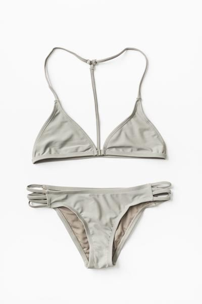 Sagecolor bikini top and bottom set. Featuring a non-padded triangle bikini top with an open T strap back. Hook closure in front. Adjustable straps for a more