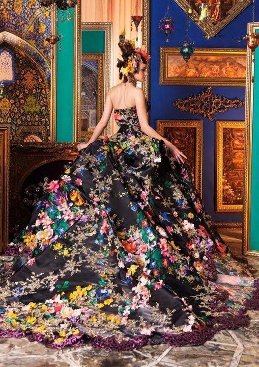 2014 nieuwe ontwerp elegante luxe prinses gedrukte patroon bloemen appliques trouwjurk/bruidsjurk in van op Aliexpress.com: