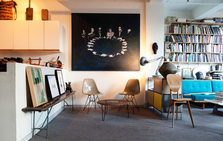 : Living Rooms, Greg Wooten, Lights Art, New York Cities, Grey Carpets, Living Spaces, Blue Couch, Blue Sofas, Interiors Design