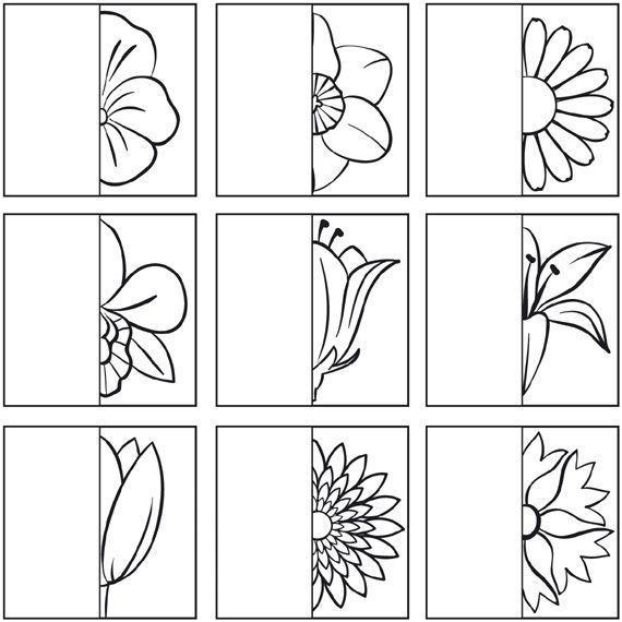 Draw the other half of the flower   Teken de andere helft ...