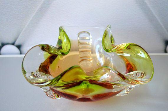 Vintage Art glas asbak, kommetje, snoep schotel, geel groen, Art glazen kom…