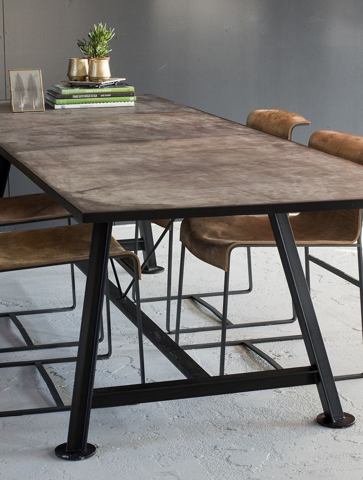 Leather Table Top with Steel - Table  #leathertabletop Design by VanGijs.com