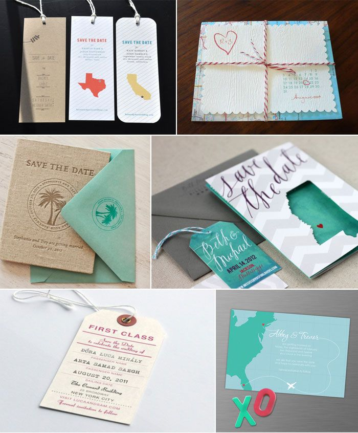 Destination wedding and travel themed save the dates