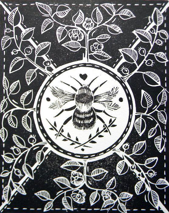 Little Bee Black Original lino cut print by mangleprints