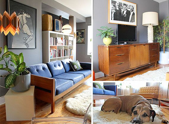 I like the Scandinavian style of this 50s furniture - would re-cover the sofa and pick a better cupboard - but you get the idea :)