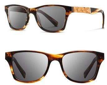 Shwood Men's 'Canby' 53Mm Polarized Sunglasses - Tortoise/ Maple Burl/ Grey