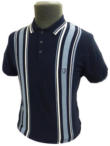 BEN SHERMAN RETRO SIXTIES MOD MENS KNITTED RACING STRIPE POLO SHIRT - Ben Sherman Mens Navy Polo Shi