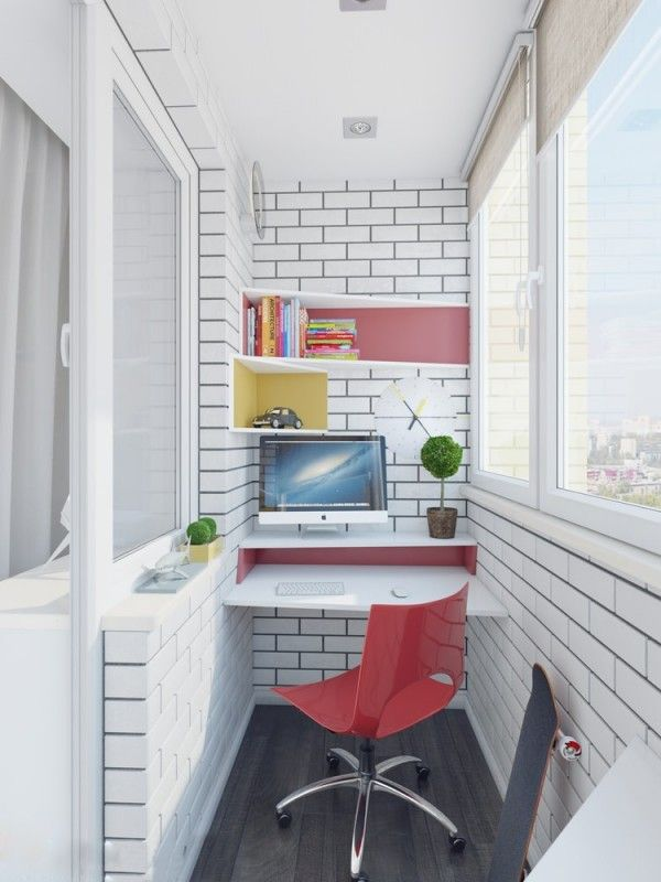 The second home workspace nestles in a tight spot, but what it lacks in dimensions it makes up for in cheerful color and striking form.