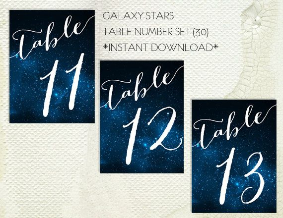 Galaxy Stars Table Numbers Printable PDF - Instant Download - Wedding Table Numbers - Print at Home - Space - Universe - Stars