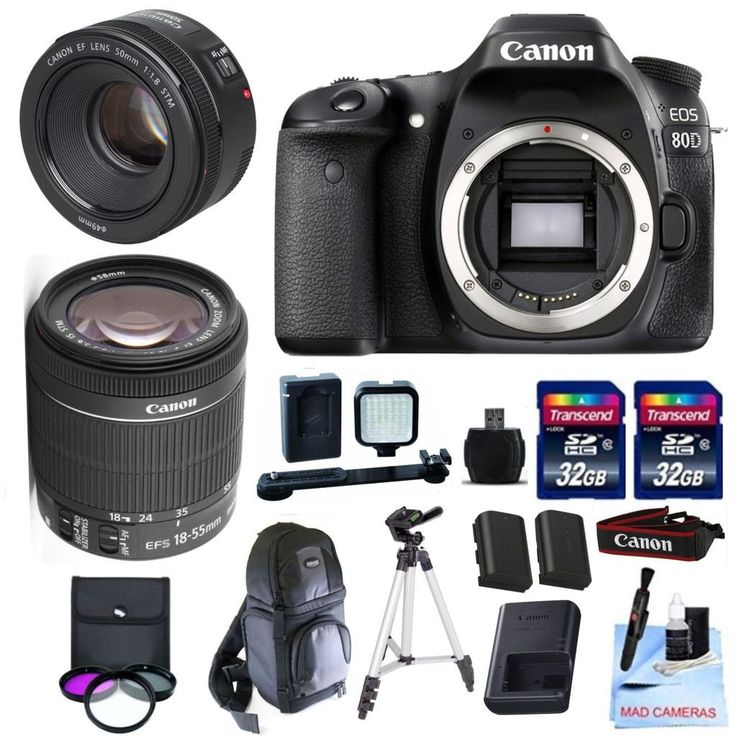 Canon EOS 80D Body Kit + Canon 18-55mm IS STM + Canon 50mm 1.8 STM Video/ Portrait Lens + 2 32GB Transcend SD Memory Cards + LED Video Light Kit & More - International Version. This Canon DSLR Kit Includes: Canon EOS 80D + Canon 18-55mm f/3.5-5.6 IS STM + Canon 50mm f/1.8 STM Fixed Zoom Portrait / Video Lens. All Original Supplied Manufacturer Accessories- LP E6 Battery, LC E6 Charger, EW300 Neck Strap. 2 32GB Transcend High Speed SD Cards, Rechargeable LED Video Light Kit, 3 Piece Filter...