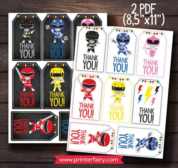 Power Rangers Tags Power Ranger Birthday Party by PrinterFairy