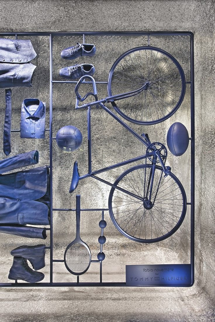 Sports in blue..lovely inspirational installation.... Inspiration for our Sports Luxe shoot in the November 16 issue.
